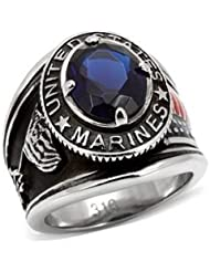 ISADY - US Marines Ryan - Bague Homme - Chevalière - Acier - Oxyde de zirconium bleu