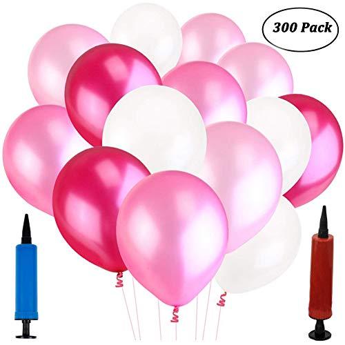 REYOK Luftballons Latexballons 300 Stück, Rosa Pink Weiß Rose Ballons Latex Balloons Pink White Rose Party Balloons mit Luftpumpe für Geburtstage Hochzeit Party Dekoration