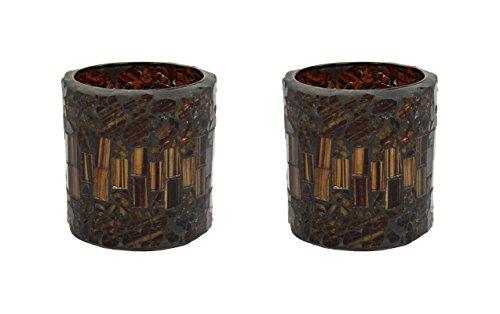 2 Stk. Mosaik Kerzen Glas klein dunkel -