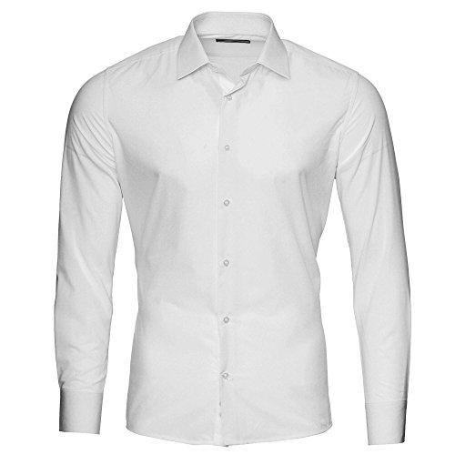 Kickdown Herren Hemd Business Bügelleicht Privèe 10 Farben S-XXL (XXL, Weiß) (Seide Bowling Shirts)