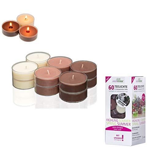 Smart Planet® Kerzen Ambiente - 60er Set im Spender Vanille duft Teelichter mit Langer Brenndauer Teelicht Vanilleduft in transparenter Hülle