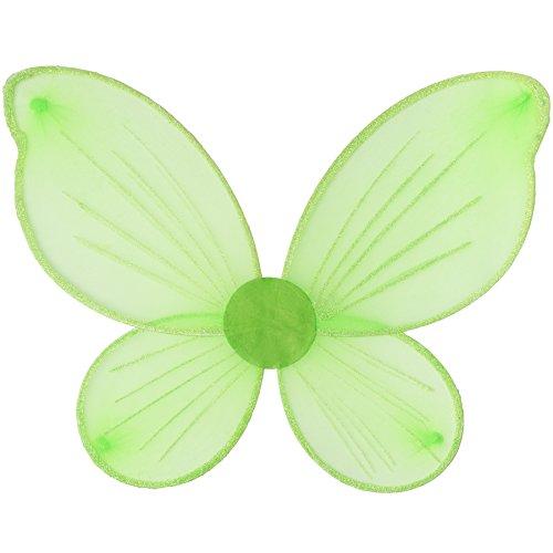 TecTake dressforfun Elfen-Flügel in Grün mit Glitzerumrandung und Glitzerdetails auf Den Flügeln | inkl. Gummibändern zur Befestigung am Rücken | 47,5 x 38,5 cm