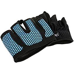 Gazechimp Guantes Unisexo Protector de Medio Dedos Accesorios de Deportes Uso en Gimasio Yoga - Azul, METRO