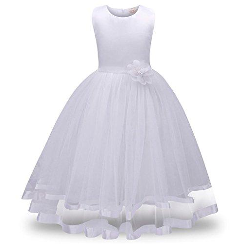 Mädchen Kleider Dasongff Mädchen Lange Prinzessin Kleider Blumenmädchen Kleider Brautjungfer Pageant Tutu Tüll Kleid Party Hochzeitskleid Festlich Kommunionkleid (150, Weiß)