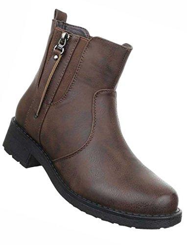 Damen Boots Schuhe Stiefeletten In Used Optik Schwarz Grau Braun Rot 36 37 38 39 40 41 Braun