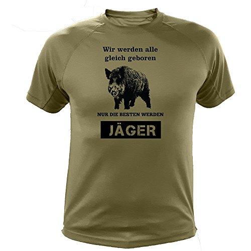 Jäger T shirt wildschwein, Wir werden alle gleich geboren, Jagd Geschenke (20142, Grun, XXL) (T-shirt Grünes Lustiges)