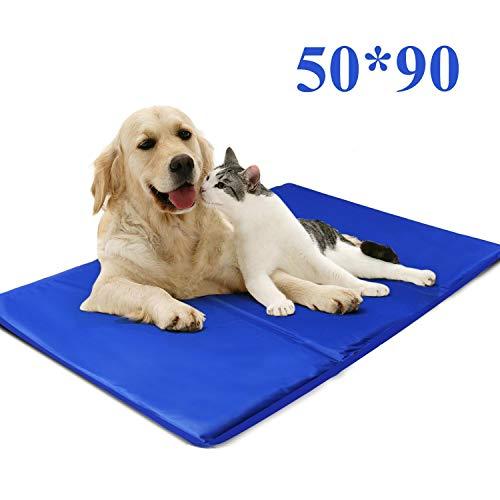 Nobleza - Alfombrilla refrescante para Mascotas Grandes. Auto refrigerante No tóxico. Ideal para para Perros, Gatos en Verano. 90 * 50 cm, Color Azul