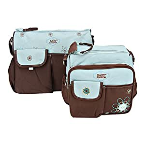 Iris Blue Print Large Multi-Purpose Diaper Bag with Matching Changing Mat - 3 Piece Set (Mommy Bag)