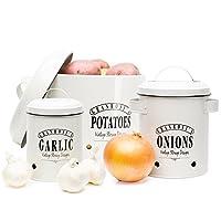 """'granrosi produits sont toujours un Highlight dans votre cuisine. Les spacieuses bocal boîtes en émail avec l'inscription «Onion», «Garlic et """"Potatoes dans les années 1940, design vintage de granrosi sont super pratique et sont aussi important es..."""