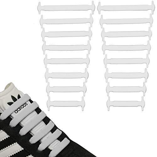 JANIRO Elastische Silikon Schnürsenkel flach | flexible schleifenlose Schuhbänder ohne Binden | Kinder & Erwachsene - Weiss