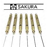 Sakura - penne Pigma Micron con punta fina in fibra, inchiostro nero – Borsetta in plastica da 6 [0,05 mm – 0,8 mm].