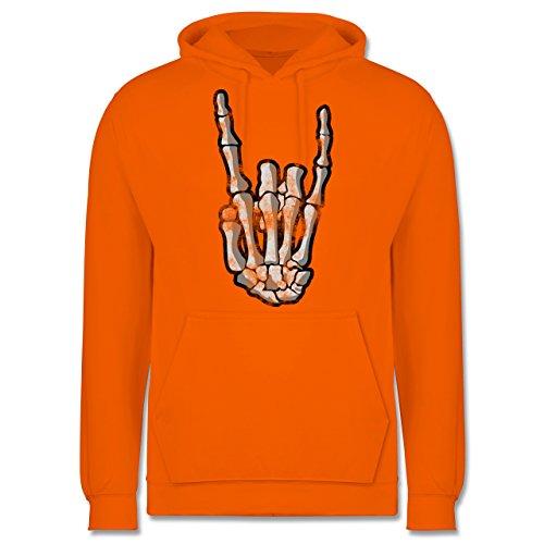 Metal - Metal Horns Skelett Hand - Herren Hoodie Orange