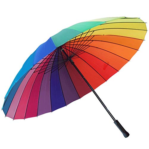 Regenschirm Men's115cm 24 Bone Langer Griff Regenschirm Große Doppelschichtverstärkung DREI Schichten Schwarz Winddicht (Color : Iridescent)