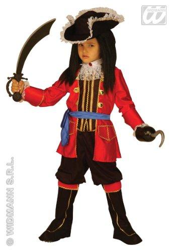 Kapitän Kinder Hook Kostüm Piraten - Widmann wdm33496-Kostüm für Kinder Kapitän Pirat (128cm/5-7Jahren), Rot, XXS