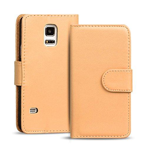 Preisvergleich Produktbild Samsung Galaxy S5, S5 Neo Bookstyle Hülle, Conie Mobile PU Leder Schutzhülle Handytasche Bookcase Tasche Premium Klapphülle in Creme