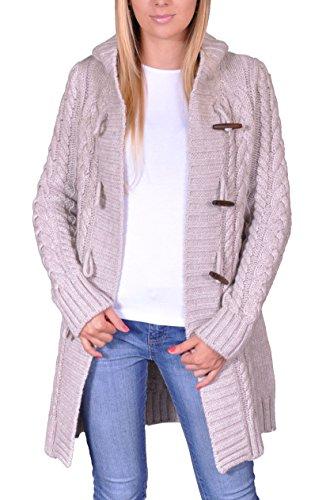 Damen Strick Jacke Mantel Pullover Neu mit Kapuze Beige Grau Warm (951) (M, Hellbeige)
