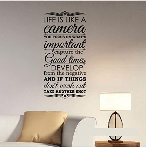 Das Leben ist wie eine Kamera Zitat Wall Decal Vinyl Schriftzug Fotografie kreative inspirierende Aufkleber Art Home Schlafzimmer Dekor 42x85cm - Kamera Wie Leben Ist Eine Das