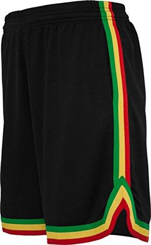 Urban Classics Herren Stripes Mesh Shorts - Urban Fit, Größe:3XL;Farbe:black/rasta (Rasta Herren Shorts)