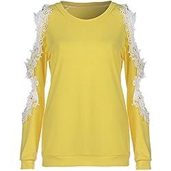 DAY.LIN T-Shirts à Manche Longues Femmes Sexy Épaules Dénudées Blouses Dentelle Chemisier Casual Sweatshirt Pull Tunic Pas Cher T-Shirts Sweat-Shirt Tee-Shirt(Small,Jaune)