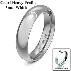 Xzara Jewellery - Platinum 5mm Heavy Court Profile Hallmarked Ladies/Gents 9.0 Grams Wedding Ring Band Size H