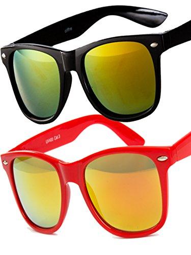 Ciffre 2 er Set EL-Sunprotect® Sonnenbrille Nerdbrille Brille Nerd Feuer Verspiegelt schwarz + rot