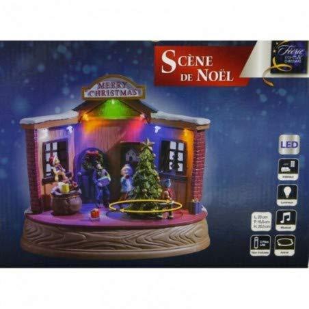 Scène de Noël avec Sapin, animée, Lumineuse et Musicale
