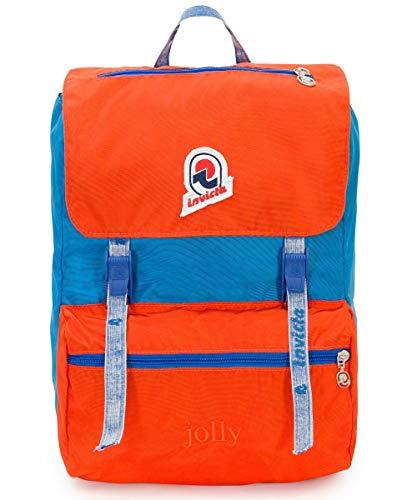 Zaino Invicta, Jolly Vintage, Arancione e Blu, 18 Lt,  Porta Laptop fino a 13'', Tasca attrezzata, Casual & Tempo libero