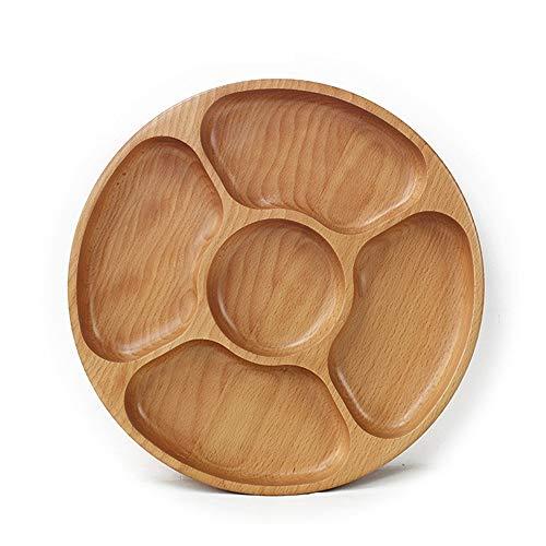 Holz Bambus Chip und Dip Servierplatte Set Runde große Chips Schüssel Appetizer Server for Snacks Tablett Brotdose M.J.ZUR (Color : Wood, Size : S)