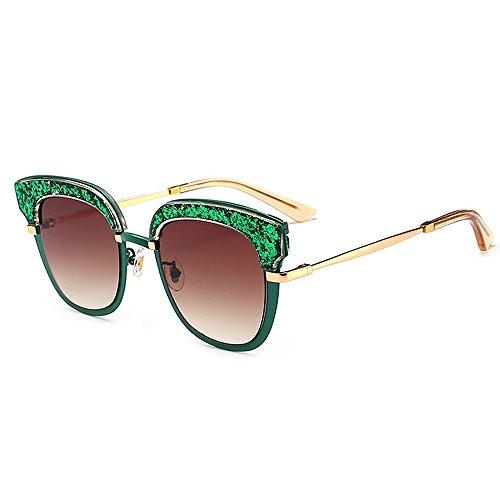XHCP Frauen Klassische Sonnenbrille Persönlichkeit Frauen Sonnenbrille Katzenaugen Acetatfaser Rahmen Nylon Objektiv UV Schutz Driving Party Urlaub Sonnenbrille (Farbe: Grün)