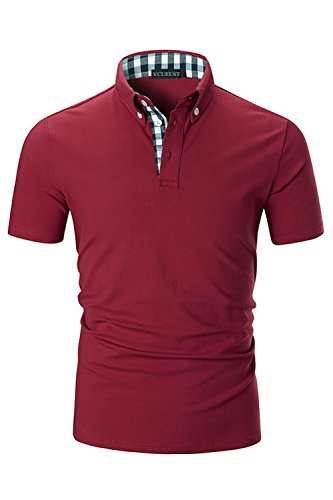 YCUEUST Lattice Collier Polo Homme en Coton Casual...