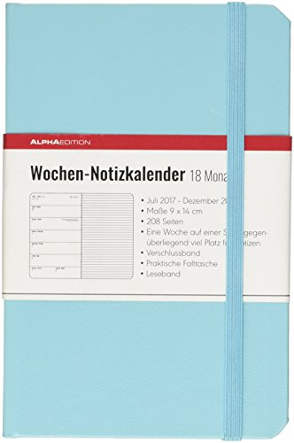 Weekly Agenda 18 Months, 2017/2018, Hard Cover, Blue 9 x 14 cm