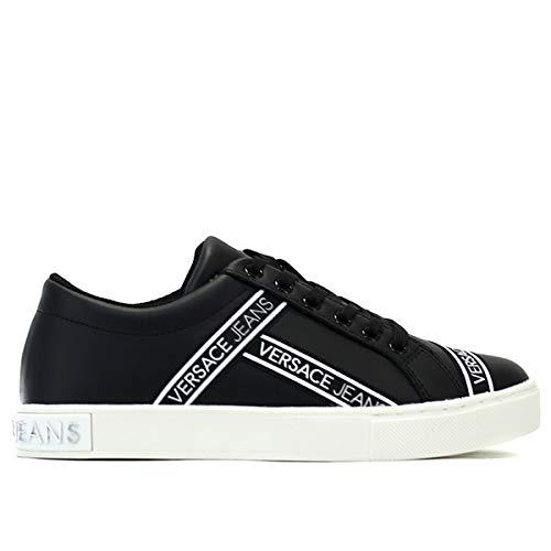 Versace Damen Jeans VTBSF5 aus schwarzem Kunstleder mit Logo, Schwarz - Schwarz - Größe: 37 EU