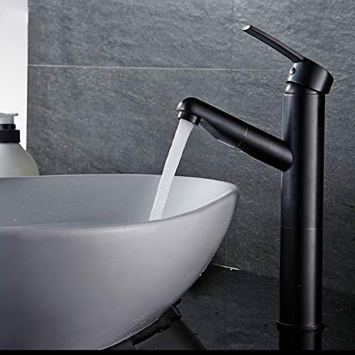 Schwarz Pull-Typ Wasserhahn Kupfer Einlochmontage Warm-und Kaltregulierung Badezimmer Waschbecken Gesicht waschen Waschkopf Öffnung 32mm bis 40mm installiert werden kann (Größe: 115mm * 275mm)