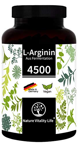 Einführung - Nature Vitality Life® L-Arginin hochdosiert ohne Zusatzstoffe - MADE IN GERMANY - 365 vegane Kapseln - 4500mg L-Arginin HCL pflanzlich (=3750mg reines L-Arginin) je Tagesdosis