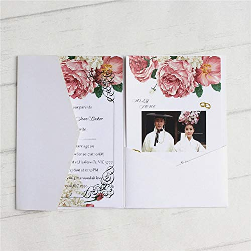 ZheQR Blank Wedding Invitation Envelop Pocket tri-Folding Invite Cover Multi Colors Offer Customized Service,White,just Pocket (White Einladungen Pocket)