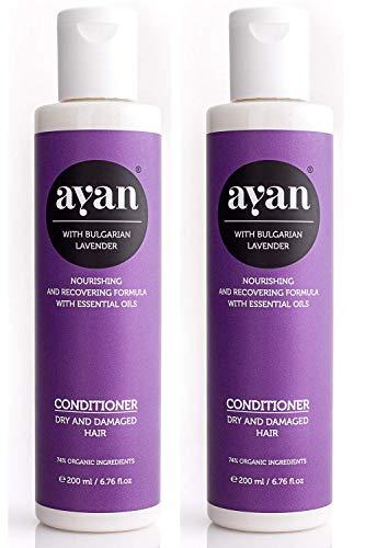 AYAN Naturkosmetik Spülung Lavendel 2er-Set ✔ Bio-Wirkstoffe ohne Silikone, Sulfate, Parabene ✔ für trockenes und beschädigtes Haar ✔ Frische, Glanz, Geschmeidigkeit ✔ Vorteilspreis