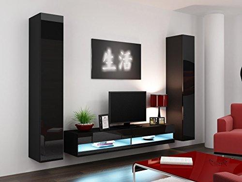 Wohnwand VIGO NEW4, Anbauwand, Wohnzimmer Möbel, Hochglanz !!! Mit LED Beleuchtung !!!