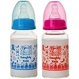 PREMIUM BOROSILICATE BABY GLASS FEEDING BOTTLE WITH TWIN LSR NIPPLE-BLUE-125ML+PINK-125ML