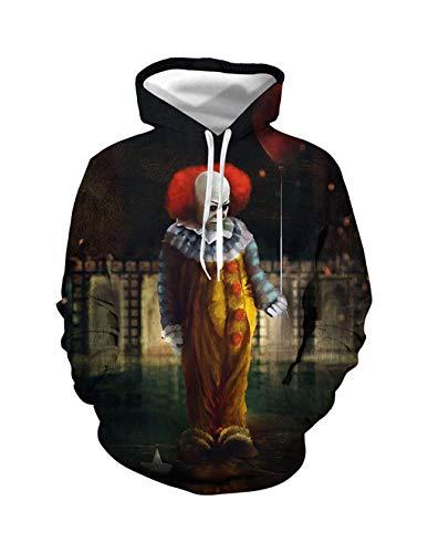 Mädchen Clown Kostüm Mörder - Herren Kapuzenpullover Halloween, Unisex Männer Damen Horror Mörder Clown 3D Druck Hoodie Jungen Ugly Schädel Cosplay Pullover Kinder Skull Pulli Mädchen Sweatshirt Oberteile Kostüm (BSY056,S)