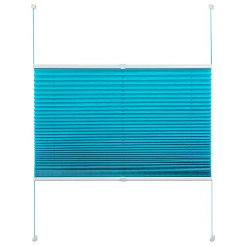 EUGAD PS5617ts21, Plissee Jalousie Klemmfix Ohne Bohren, für Fenster und Tür, Faltrollo verspannt, Verdunklungsplissee easyfix, 80x220 cm, Türkis