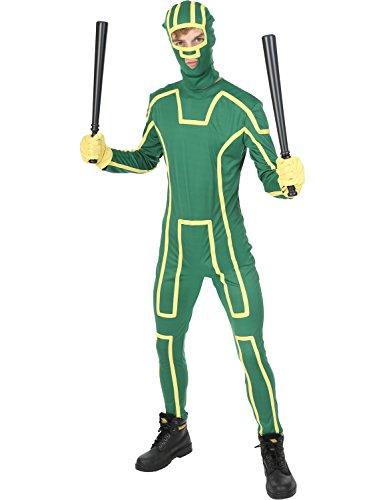 Herren Kick Ass Superheld-film Junggesellenabschied Overall Kostüm Extra (Kostüme Teenager Superhelden)