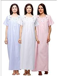 Trendy Comfortable Round Neck Terry Cotton Half Sleeve Nighty Pack of 3 c63e18c59