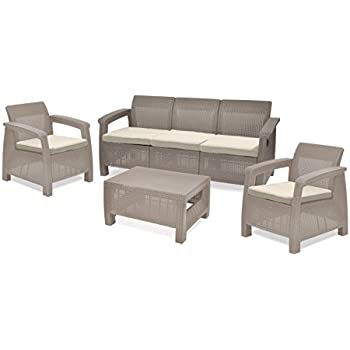 keter corfu outdoor 5 seater garden lounge set cappuccino with cream cushion. Black Bedroom Furniture Sets. Home Design Ideas