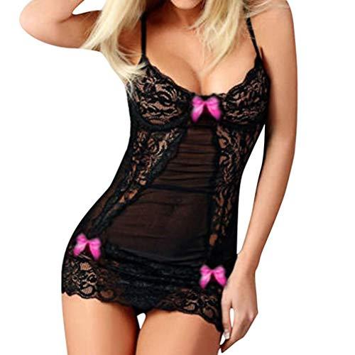 SMIELQ Mode Frauen Sexy Bogen Spitze Rassig Unterwäsche Gewürz Anzug Versuchung Unterwäsche (Pink)