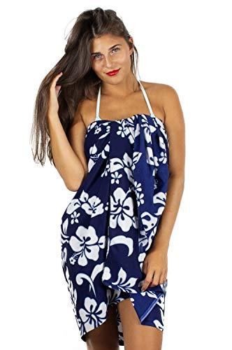 V.H.O. Funky Hawaii Sarong Lang, Hibiskus, Blau