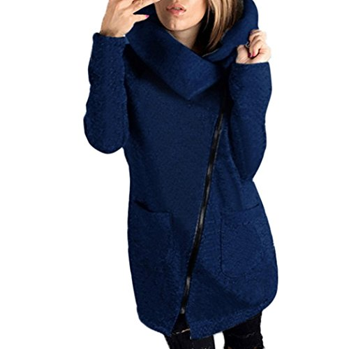 VENMO Frau Winter Reißverschluss-Bluse Hoodie mit Kapuze Sweatshirt Manteljacke Kapuzenpullover stylischer Fleece Jacke mit Kapuze Strickjacke Hooded Coat Long Zipper Pullover Mantel (XL, Navy)
