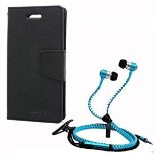 Aart Fancy Wallet Dairy Jeans Flip Case Cover for NokiaN520 (Black) + Zipper Earphones/Hands free With Mic *Stylish Design* for all Mobiles- computers & laptops By Aart Store.
