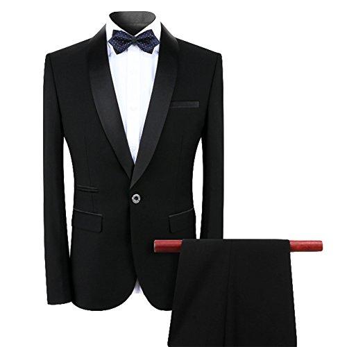Anzug Herren 2 Teilig Slim Fit klassischer Business Slim Fit Anzug Anzugjacke und Hose Schwarz Small