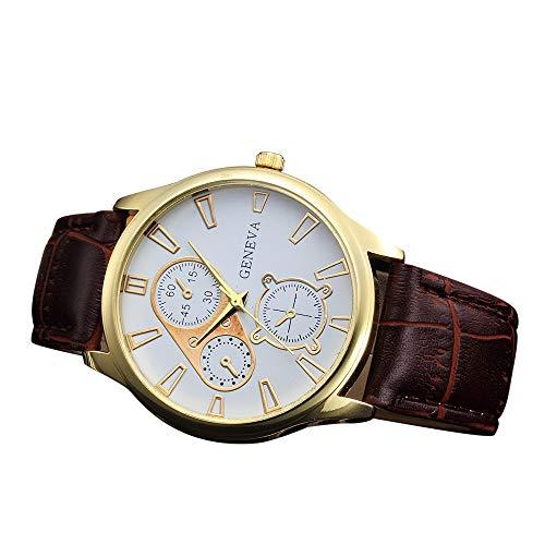 IG-Invictus Retro Design Leder Band Analog Legierung Quarz Armbanduhr Genf Gürtel Uhr