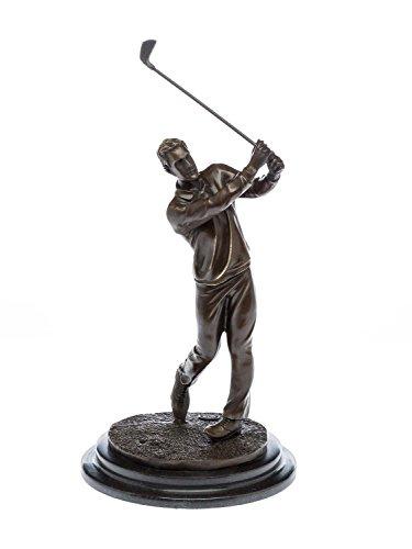 aubaho Statuette en bronze - golfeur club en main - socle en marbre